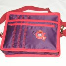 $59.50 Red Hat Ladies 8X10 Shoulder Bag Purple Sateen Red Tea Pot Red Stylized Flower Top Stitching