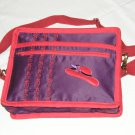 $59.50 Red Hat Ladies 8X10 Shoulder Bag Purple Sateen Red Hat Red Stylized Flower Top Stitching