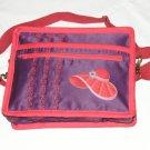 $59.50 Red Hat Ladies 8X10 Shoulder Bag Purple Sateen Red Hat Decor RedStylizedFlowerTopStitching