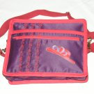 $59.50 Red Hat Ladies 8X10 Shoulder Bag Purple Sateen Red Hat Purple Ribbon RedStylizedTopStitching
