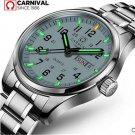 Carnival Men Tritium light Watch  Quartz Date Day Luminous Military Wristwatch