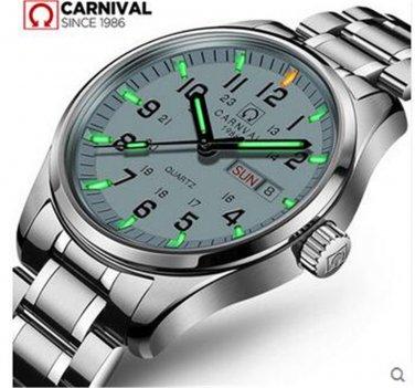 Carnival Men Tritium light Watch  Quartz Date Day Luminous Military Wristwatch