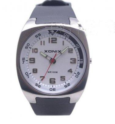 Xonix Men Sports Watches Quartz WR100M Swim Wristwatch Japan Mov't Rubber Strap