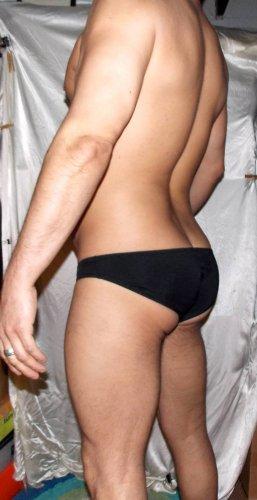 Joe Snyder (XL 34-36 in) seamless low-rise BLACK maxbulge swim brief