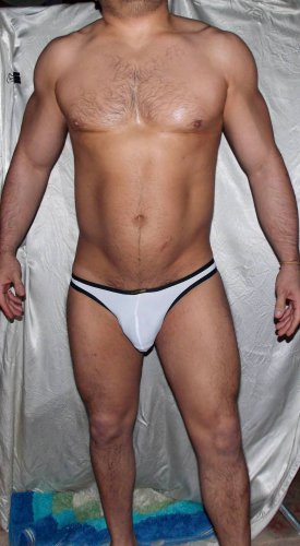 Sexy Black-framed (L 29-32 in) White low-rise muscle swim brief *NEW* -Free S&H