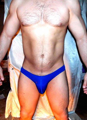 Joe Snyder (L 32-34 in) seamless low-rise BLUE maxbulge swim brief