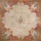 European Aubusson Antique 1800s Floral Beige Background Medallion Hand Woven Vege Dye 100% Wool
