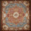 European Aubusson Antique 1800s Floral Light Blue Background Medallion Hand Woven Vege Dye 100% Wool