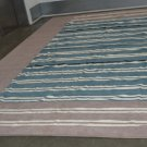 ORIENTAL RUG HANDMADE DHURRIE COTTON CHENILLE MOCHA TURQUOISE WHITE WIDE STRIPES COAST STYLE