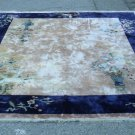 ANTIQUE  HANDWOVEN  CHINESE AREA RUG 100% SILK  HIGH PILE  FLORAL BEIGE BACKGROUND  NAVY BLUE BORDER