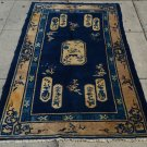 Peking Chinese  Handmade  Oriental Rug  Navy Blue Background Beige Border  4' x 6'9''  Vintage 1940s