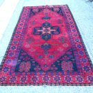 ANTIQUE  HAND MADE ORIENTAL RUG 100% WOOL MULTI MEDALLION PATTERN RED & NAVY 9'6'' x 5'6''  1950s