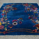 PEKING CHINESE RUG HANDMADE 1900s BLUE BACKGROUND MULTI-COLOR FLORAL 9' x 11'6''