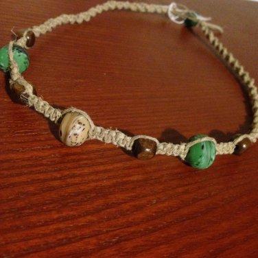 Teal & Brown Beaded Hemp Necklace