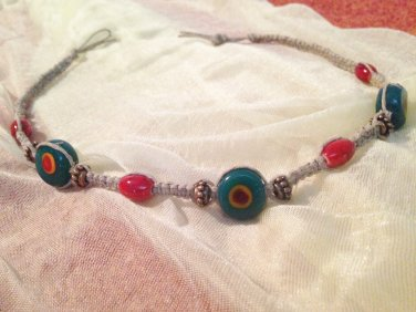 Hemp Necklace w/ Teal & Red Pendants