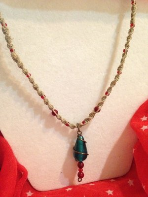 Hemp Necklace w/ Red and Green Wire Wrapped Pendant