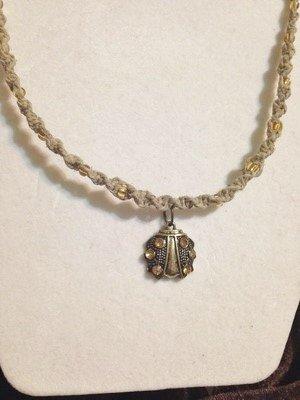Hemp Necklace with Ladybug Pendant