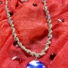 Hemp Necklace w/ Blue & White  Pendant