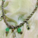 Hemp Necklace w/ Green & Clear Crystal Shaped Pendants