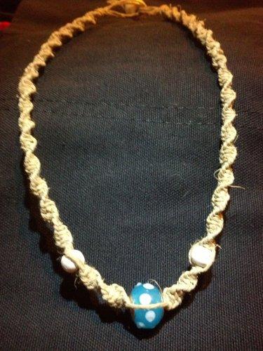 Hemp Necklace w/ Blue Polka Dot Bead