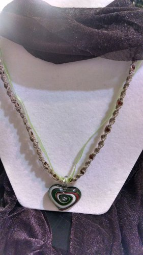 Hemp Necklace w/ Green & Red Glass Heart Pendant