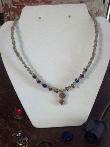 Hemp Necklace w/ Blue & Brown Beads,  Sun Pendant