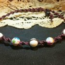 Purple Hemp Necklace w/ White Floral Beads