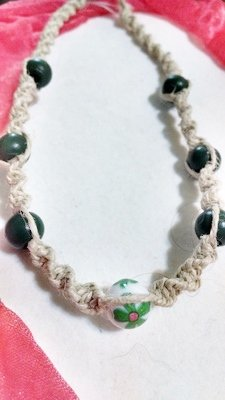 Hemp Necklace w/ Green and Floral Beads