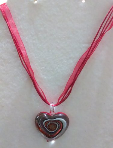 Red Ribbon Necklace with Glass Heart Pendant
