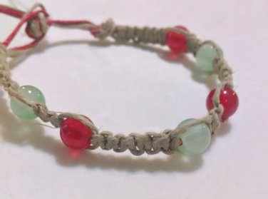 Hemp Bracelet w/ Red & Green Beads
