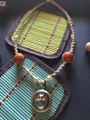 """I'm Late"", W. Rabbit Pendant on Hemp Necklace"