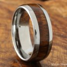 8mm Natural Hawaiian Koa Wood Inlaid Tungsten Wedding Ring Oval Shape(Classic style)TUR4001