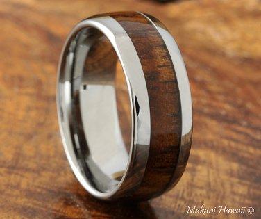 8mm Natural Hawaiian Koa Wood Inlaid Tungsten Wedding Ring Oval Shape(Classic style)TUR4001
