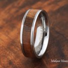 Koa Wood Tungsten Wedding Ring Flat 6mm