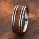 Tungsten Double Line Koa Wood Ring 8mm