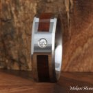 Koa Wood Tungsten Wedding Ring with CZ Inlaid 8mm