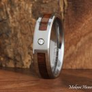Koa Wood Tungsten Wedding Ring with CZ Inlaid 6mm