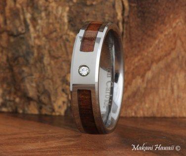 Koa Wood Tungsten Wedding Ring with CZ Inlaid 6mm