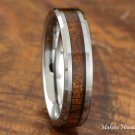Tungsten Koa Wood Inlaid Wedding Ring 5mm