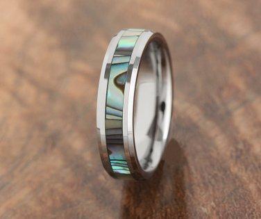 Tungsten Abalone Inlaid Wedding Ring 5mm