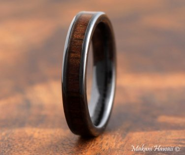 High Tech Ceramic Koa Wood Inlaid Wedding Ring Flat 4mm