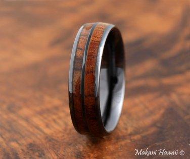 High Tech Ceramic Koa Wood Double Row Ring Black Oval 8mm