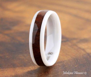 High Tech White Ceramic Koa Wood Wedding Ring Oval 6mm