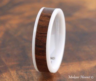 High Tech White Ceramic Koa Wood Wedding Ring Flat 6mm