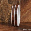 Double Row High Tech White Ceramic Koa Wood Wedding Ring 6mm