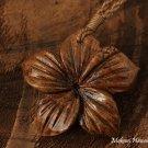 40mm Koa Wood Hibiscus Flower Necklace KOA1129