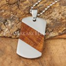 Koa Wood Stainless Steel Dog Tag Pendant Diagonal SLP7102