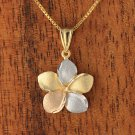 GP3151 14K Solid Yellow Gold Tri-color Plumeria Pendant 12mm
