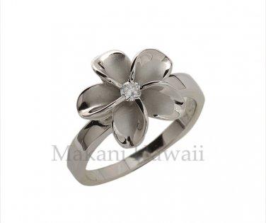 SR2048 Solid Sterling Silver Hawaiian Plumeria Ring 15mm