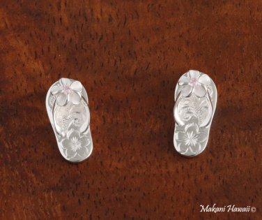 Hawaiian Jewelry Plumeria Scroll Slipper Solid Silver Earrings SE35402